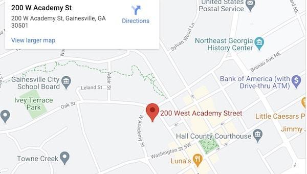 Gainesville Divorce Attorneys Map